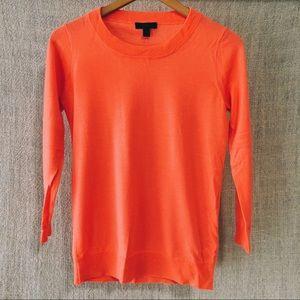 J Crew Neon Coral Tippi Sweater
